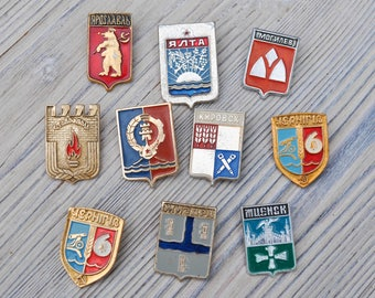 "Set of 10 Vintage USSR badges,pins.""Coats of arms of cities"""