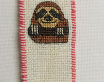 sloth cross stitch bookmark