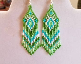 Native American Style Green, Turquoise and White Earrings Southwestern Boho, Peyote, Gypsy, Brick Stitch, Great Gift