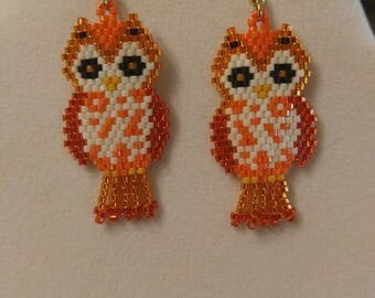 Native American Style Beaded Cute Owl Earrings in Orange and Black Animal Wildlife Brick Stitch, Peyote, Southwestern, Boho Great Gift