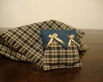 pillow, with blanket, for dollhouse