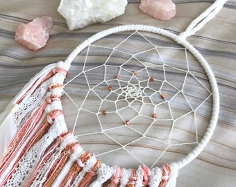 Pink Dream Catcher // Coral, Rose Gold, Copper Beads, Pastel Yarn Wall Hanging, White Feathers, Boho Home Decor, Girls Nursery, Baby Shower