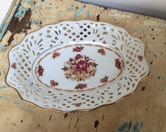 Vintage lattice / reticulated oval Porcelain serving  dish with gold trim. Made in Germany by Bavaria