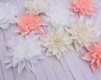 """Set of 15 Peonies 8"""" Crepe Paper Flowers Centerpiece Table Aisle Runner Wedding Decor SPECIAL PRICE"""