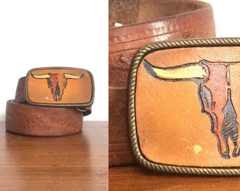 Vintage Western Bull Steer Skull Buckle / Rustic Longhorn Steer Carved Leather Rodeo Bekt Buckle