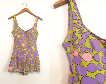 Vintage 60s Pastel Print Swimsuit / 60s Psychedelic Bathing Suit / Purple Green Pink Swimsuit / Mid Century Beachwear / Small