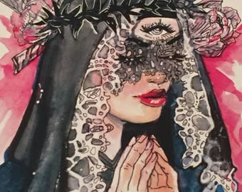 Praying woman print