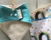 Organic Baby Gift Set, Includes Bandana Bib and Burp Cloth - Hand Made Baby Gifts, Gentle Loch Ness and Kingfisher Blue