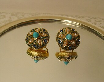 Marcel Boucher Enamel - Sapphire Crystals - Turquoise Bullet Cabochon and Pearls - Clip On Earrings