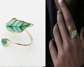 Leaf ring, Nature inspired ring, Nature ring, Ring leaf, Ring nature, Green ring. Botanical ring. Beautiful ring. Cheap ring.