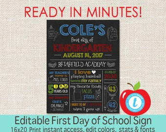 EDITABLE First Day of School sign, First Day of School Chalkboard, ANY GRADE, Back to School, 1st Day Printable Sign, Instant Download