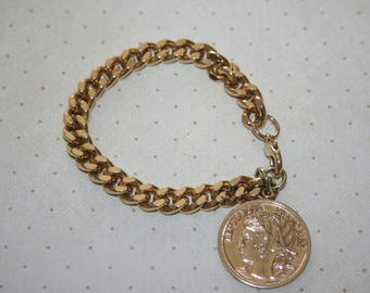 Vintage Gold Tone Charm Bracelet, Gold French Coin