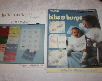 Two 2 Cross Stitch Instructions, Baby Bibs, Burp Cloths, 1980s