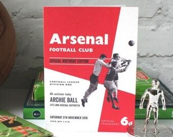 Personalised Football Programme Birthday Card