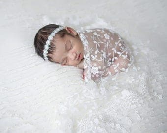 White Newborn Baby Lace Wrap with Fringe AND/OR White Sequin Headband - photo shoots, bebe, foto, photographer, Lil Miss Sweet Pea