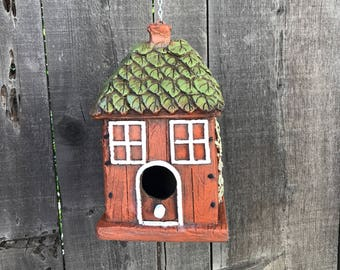 Hobbit House Birdhouse, Poly Armour Resin & Fiberglass Birds House Hand Painted, Hanging Outdoor Whimsical Birdhouses, Item #540310969