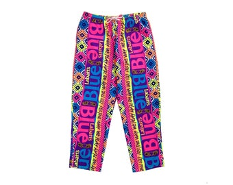 Mega Rare 80s Labatt Blue Beer Mind-Altering Neon Muscle Pants - 34 to 38