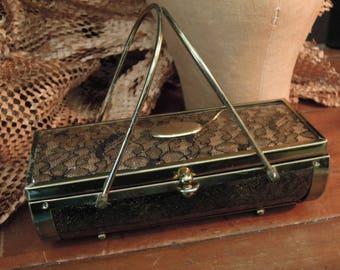 Vintage Mid-Century Handbag / Black Lace under Plastic / Summer Autumn Purse / Clear Plastic Handbag