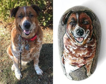 Pet Portrait Stone, Personalized Gift, Custom Art, Memorial Gift, Animal Painting, Hand Painted Rock Art, Paper Weight