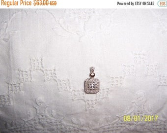 TWICE A YEAR, 25% Off Vintage Diamond Square pendant with gold heart. Sterling silver.