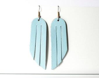 Leather Earrings / Fringe / Sky Blue