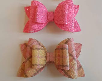 "Pink glitter hairbows , 4"" double bow,hair accessories , pink hair bows , handmade hairbows, 2 bow set"