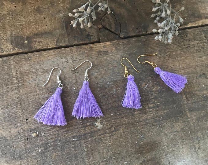 boho tassel earrings, purple amethyst tassel earrings, dangle earrings, unique bohemian gift for wife, anniversary gift, fall jewelry trends