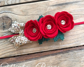 Red Felt Rose Headband Christmas Headbands Felt Flower Baby Headband Baby Girl Headbands Newborn Headband Photography Props Holiday Headband