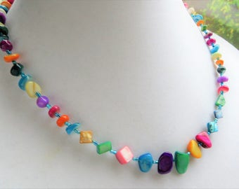 VIBRANT SHELL- Handmade Women's Beaded Necklace- Mother of Pearl Shell Beads