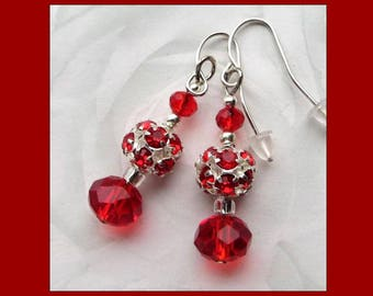 RED SPARKLE- Handcrafted Women's Beaded Earrings- Crystal Beaded Earrings- Silver Plated Ear Wires