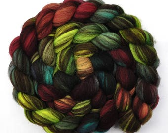 Hand painted roving - Corriedale Humbug wool spinning fiber - 4.1 ounces -  Forest Floor 1