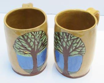 ceramic mug (set of 2); ceramics and pottery mug ; hand built pottery; tree mug