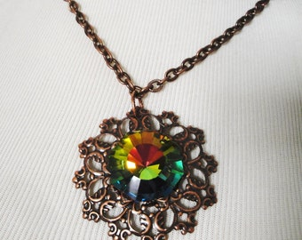 Copper Plated Pendant With Vitral Center