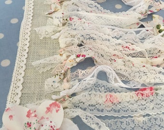 Shabby chic rag tie boho garland bunting,banner,coloured party flags,wedding,event,garden parties,baby showers in cotton fabrics