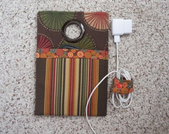 Brown, Rust and Green Vertical Stripe Pouch and Green, Rust and Gold Sunburst Print Fabric Cell Phone Charging/Docking Station/Wall Charger