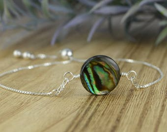 Large Round Abalone Shell Bead Adjustable Sterling Silver Interchangeable Charm/Link Bolo Bracelet- Charm, Bracelet Chain, or Both