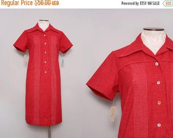 MOVING SALE 1960s Deadstock Shirtwaist Dress. Red Dress. Collared Shirt Dress. 60s Shift Dress. Retro Dress. Knee Length Short Sleeve Day Dr