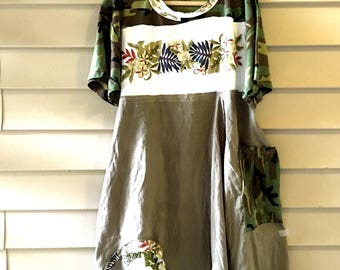Recycled shirt dress   Patchwork Cotton Floral dress   Summer dress Upcycled clothing One big pocket