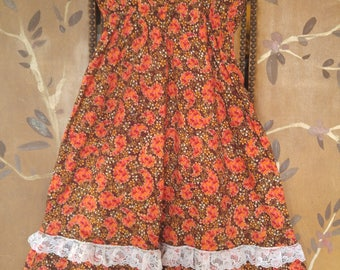 80s orange paisley and flowery  white lace trim girls summer dress