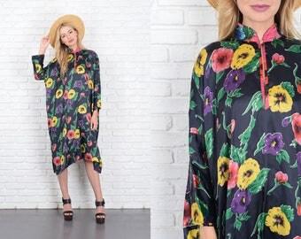 Vintage 70s Floral Print Dress Caftan Midi Oversize S M L Mod 10095 vintage dress 70s dress floral dress caftan dress small dress