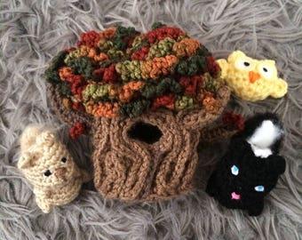 Autumn Tree Animals Amigurumi Play Set