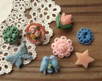 Vintage Plastic Buttons Assorted Lot Birds Butterfly Flowers Star Pierced Pastel Colors (8)