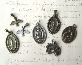 Vintage Religious Medal Charm Lot Jesus Mary Doves Lily (7 pieces)