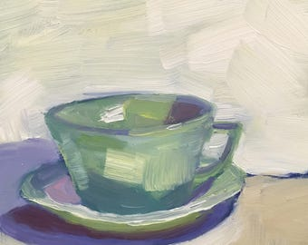 The Green Tea Cup  Small Still Life Oil Painting on Panel