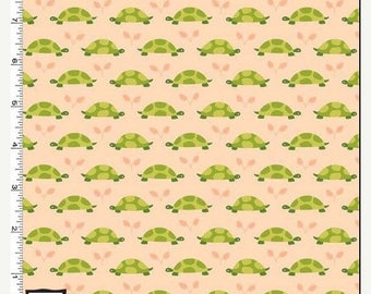 SUMMER SALE Peach Tonal Turtle Parade from Michael Miller's Les Amis Collection by Patty Sloniger
