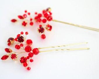 Luxury Swarovski red crystals hair pins, 2pc