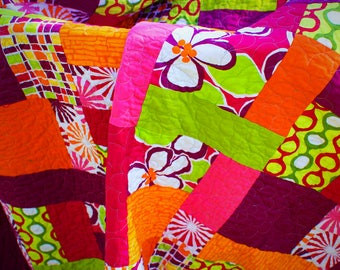 Handmade Modern quilt , Multi Colored Quilt, Patchwork Quilt, Handmade Quilt, Lap Quilt