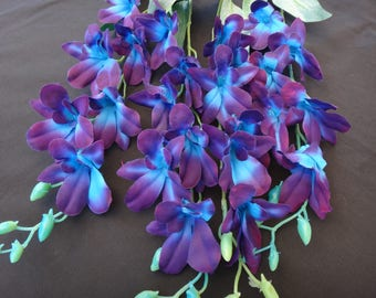4 galaxy orchid stems, purple blue orchid stems, island orchid
