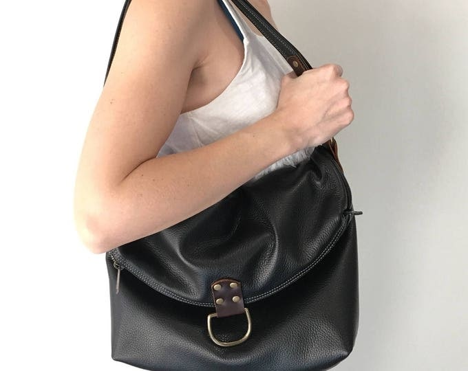 Featured listing image: ELLIS - Convertible leather bag - from shoulder to crossbody to backpack