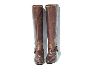 Vintage ITALIAN Brown Leather Boots / Soft Leather Tall Boots / size 7.5
